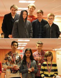 Vinnerne av NM for skolelag 2017: Langnes (ungdomsskole) og Søråshøgda (barneskole). Foto: SK1911u